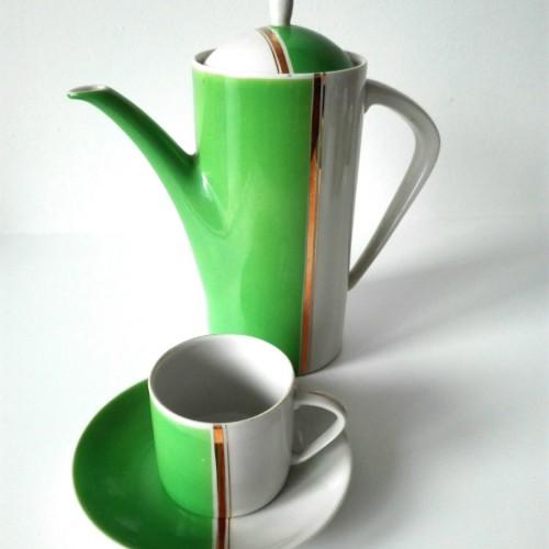 Serwis kawowy Art Deco fabryki porcelany Hollóházi