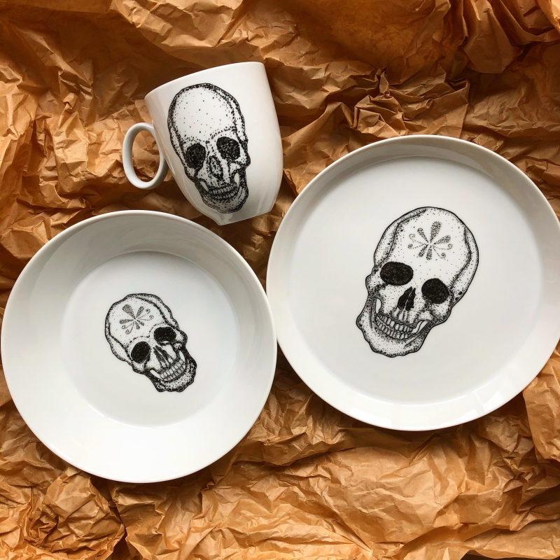 Seria Przeszłość ręcznie malowana czaszka