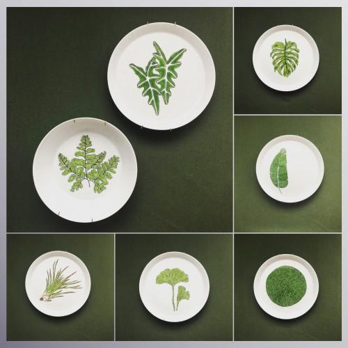 Talerze ręcznie malowane dekoracyjne wypalane w piecu ceramicznym Seria rosliny